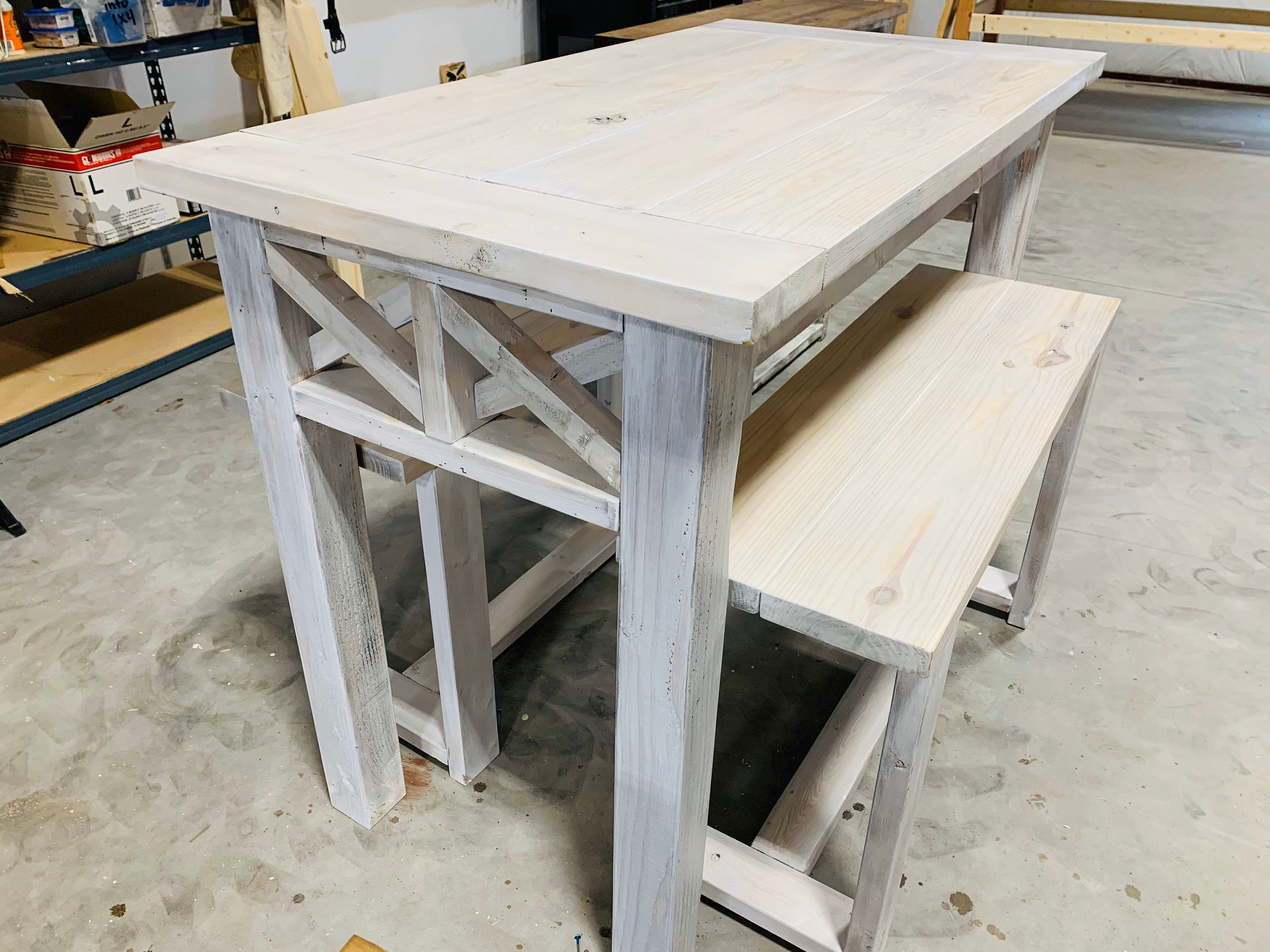 Counter Height Rustic Farmhouse Table With Benches High Top Table