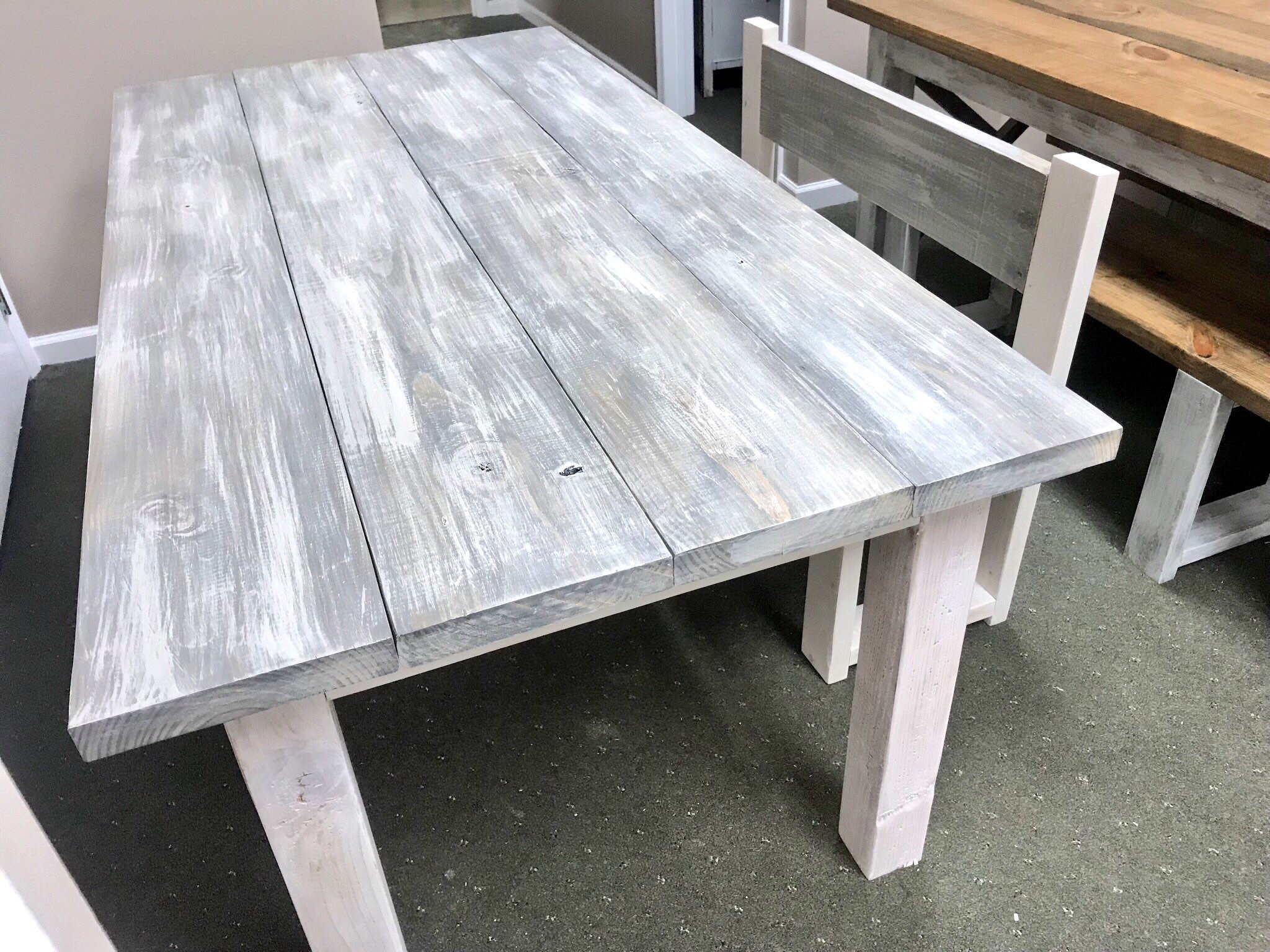 White Wash Farmhouse Table With Bench With Back Rustic