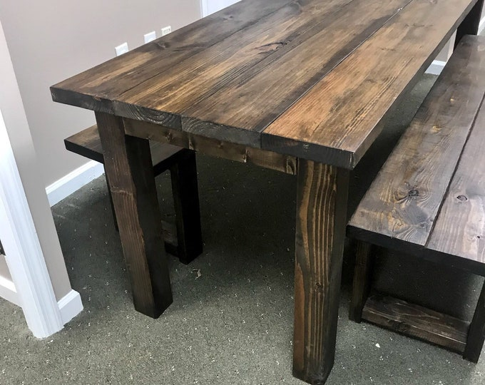 Rustic 7ft Farmhouse Table with Benches, Brown Dining Set, Table Set, Dark Walnut Long Narrow Farmhouse Table