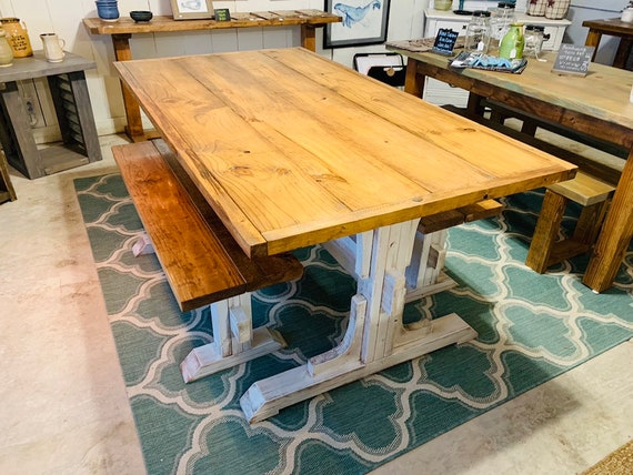 Fantastic Trestle Style Rustic Farmhouse Table Set With Two Benches Early American Top Distressed White Base Wooden Dining Set With Trim Machost Co Dining Chair Design Ideas Machostcouk