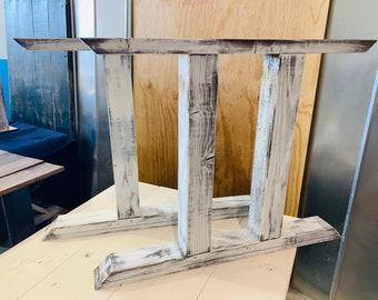 DIY Farmhouse Table Leg Set, Antique Distressed White Trestle Style Legs, Pedestal Table Legs, Wooden Table Legs, Dining Set