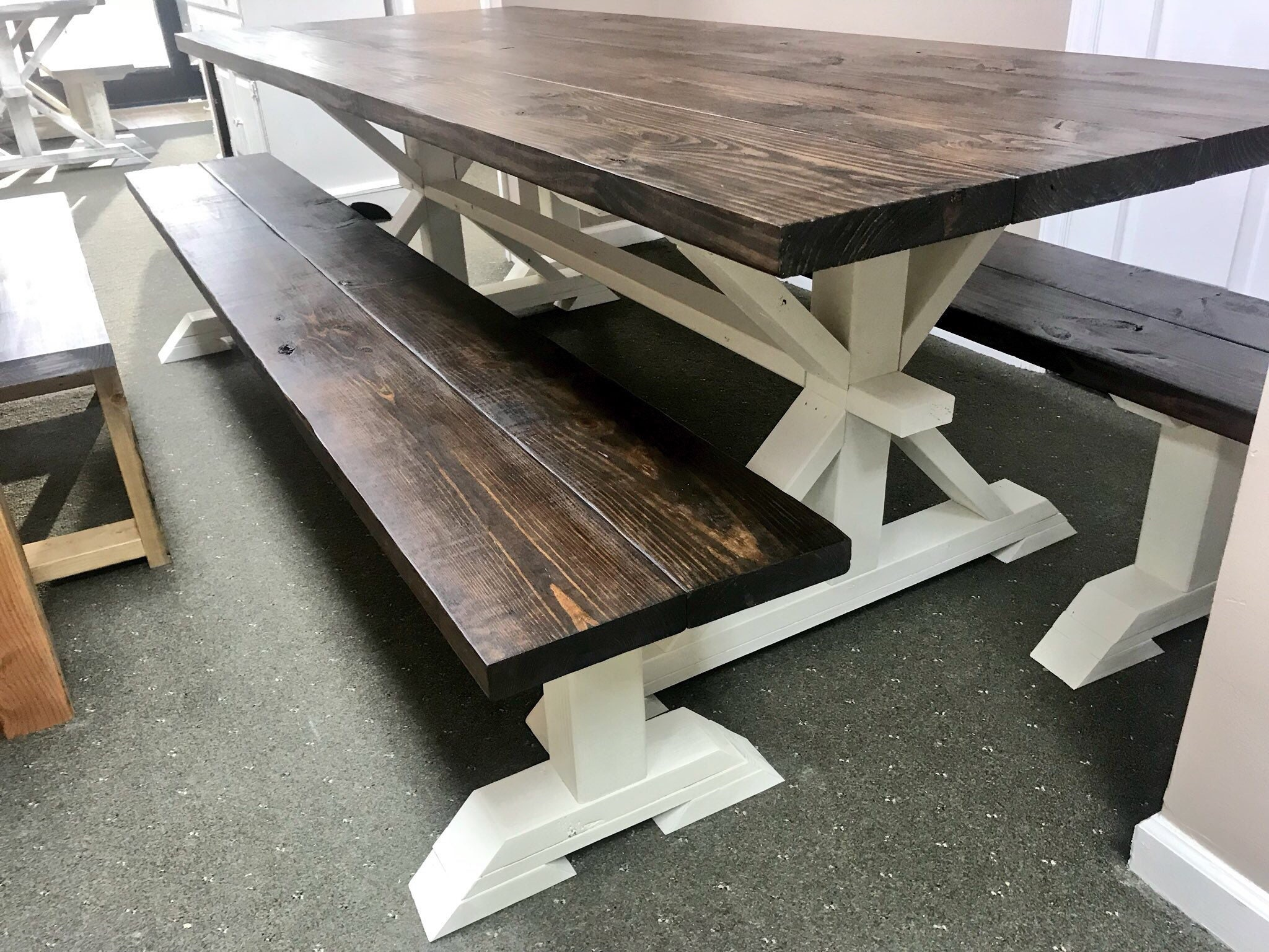 8ft Rustic Farmhouse Table With Long Benches Banquet