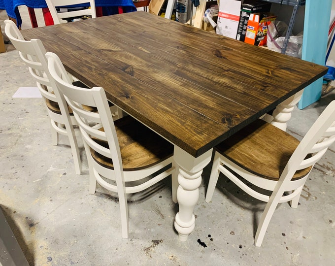 Rustic Farmhouse Table Set with Turned Chunky Legs, Bench and Chairs, Dark Walnut Top and Antique White Base, Dining Set