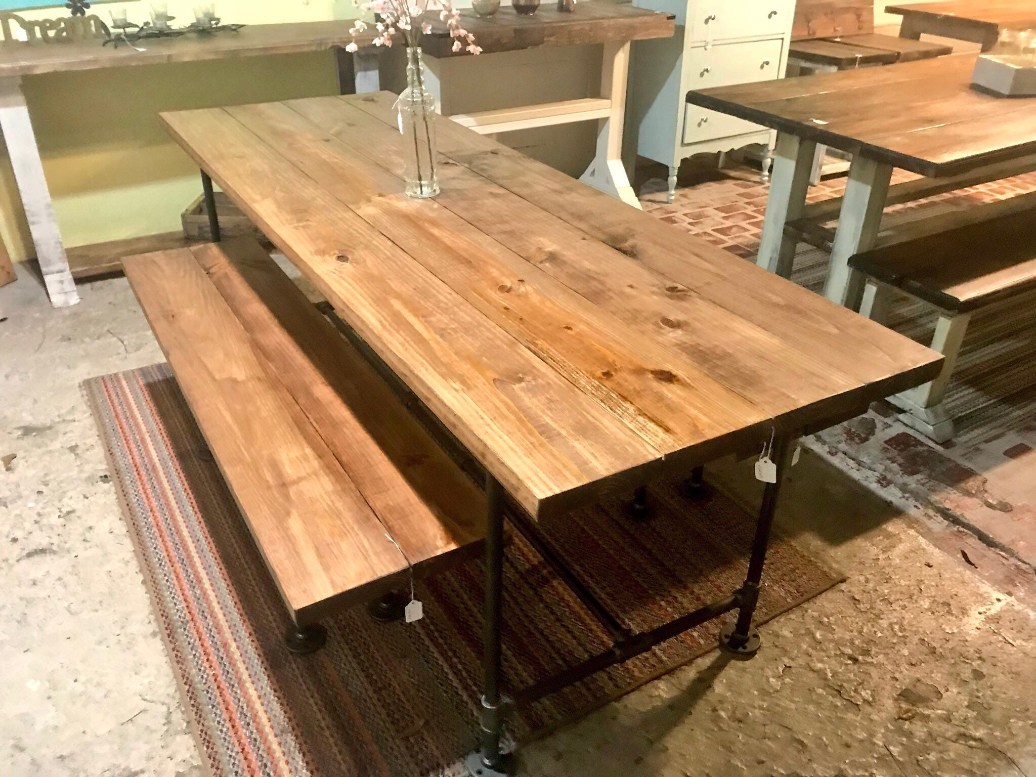 Industrial Style Farmhouse Table With Benches Black Iron