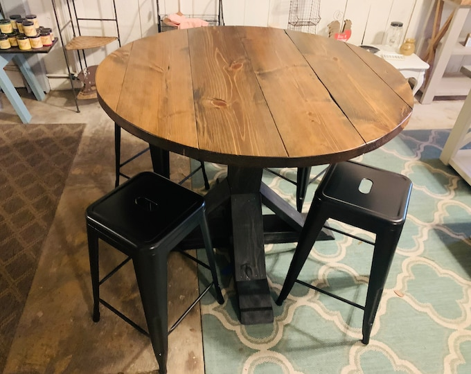Counter Height Round Rustic Farmhouse Table with stools, Single Pedestal  Style Base, Black base with Provincial Brown Top, Small Dining