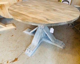 Round Rustic Farmhouse Table, Single Pedestal  Style Base,  White Wash Top with Distressed White Base, Small Wooden Dining Table