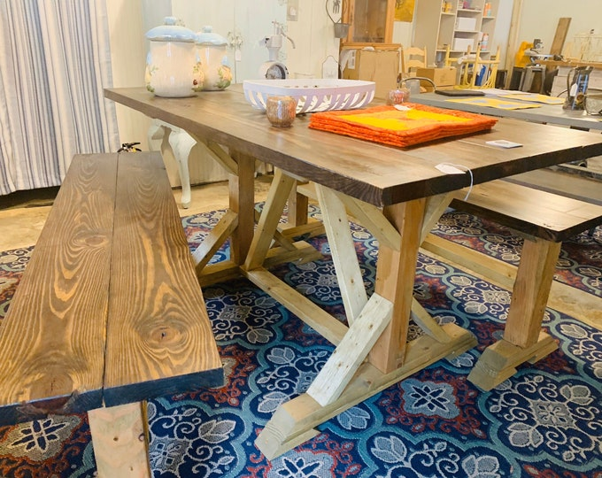 Counter Height Rustic Pedestal Farmhouse Table With Benches Driftwood Brown Base with  Dark Walnut Top Dining Set or Kitchen Table