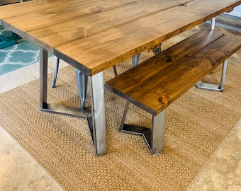 Industrial Farmhouse Table with Bench and Metal Chairs , Rustic Steel Legs, Provincial Brown Wooden Top, 6ft Dining Set, Industrail Design