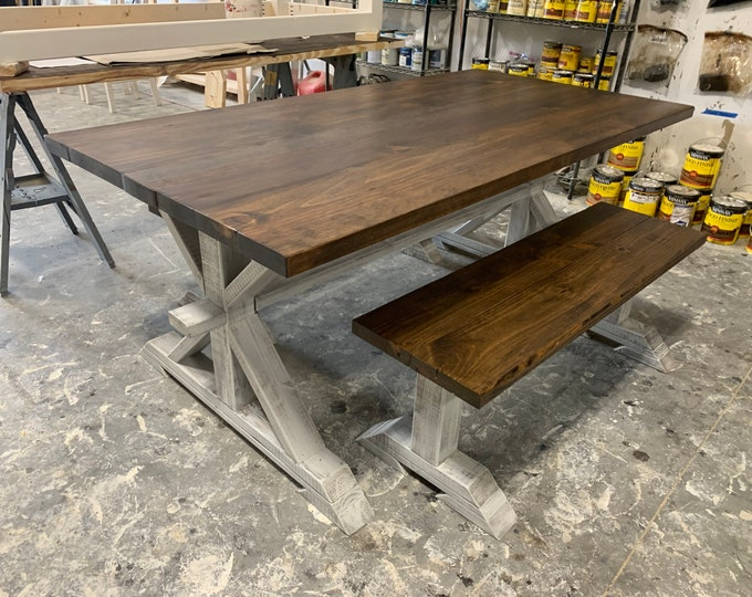 Rustic Pedestal Farmhouse Table With Benches Provincial Brown with White Distressed Base Dining Set In Stock