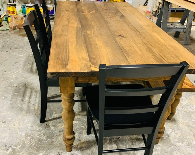 Rustic Farmhouse Table with Turned Legs, Bench and Black Chairs, Provincial Brown Stain Finish, Dining Set with Wooden Ladder Back Chairs