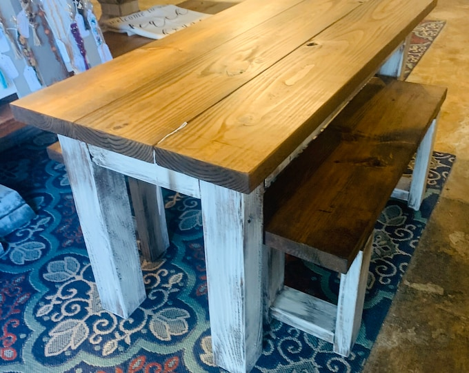 Kids Rustic Farmhouse Table Set with Benches, Children's Table, Dining Set, Provincial Brown Top with Distressed White Base, Kids Furniture