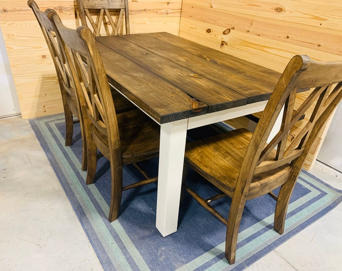 Rustic Farmhouse Table Set with Bench and Chairs, White Base and Dark Walnut Brown Top, Dining Set with Chairs Kitchen Table Set