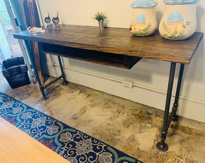 Industrial Style Desk with Gas Pipe Steel Legs , and Dark Walnut Wooden Top, Desk with Storage, Handmade Office Furniture, Rustic Feel