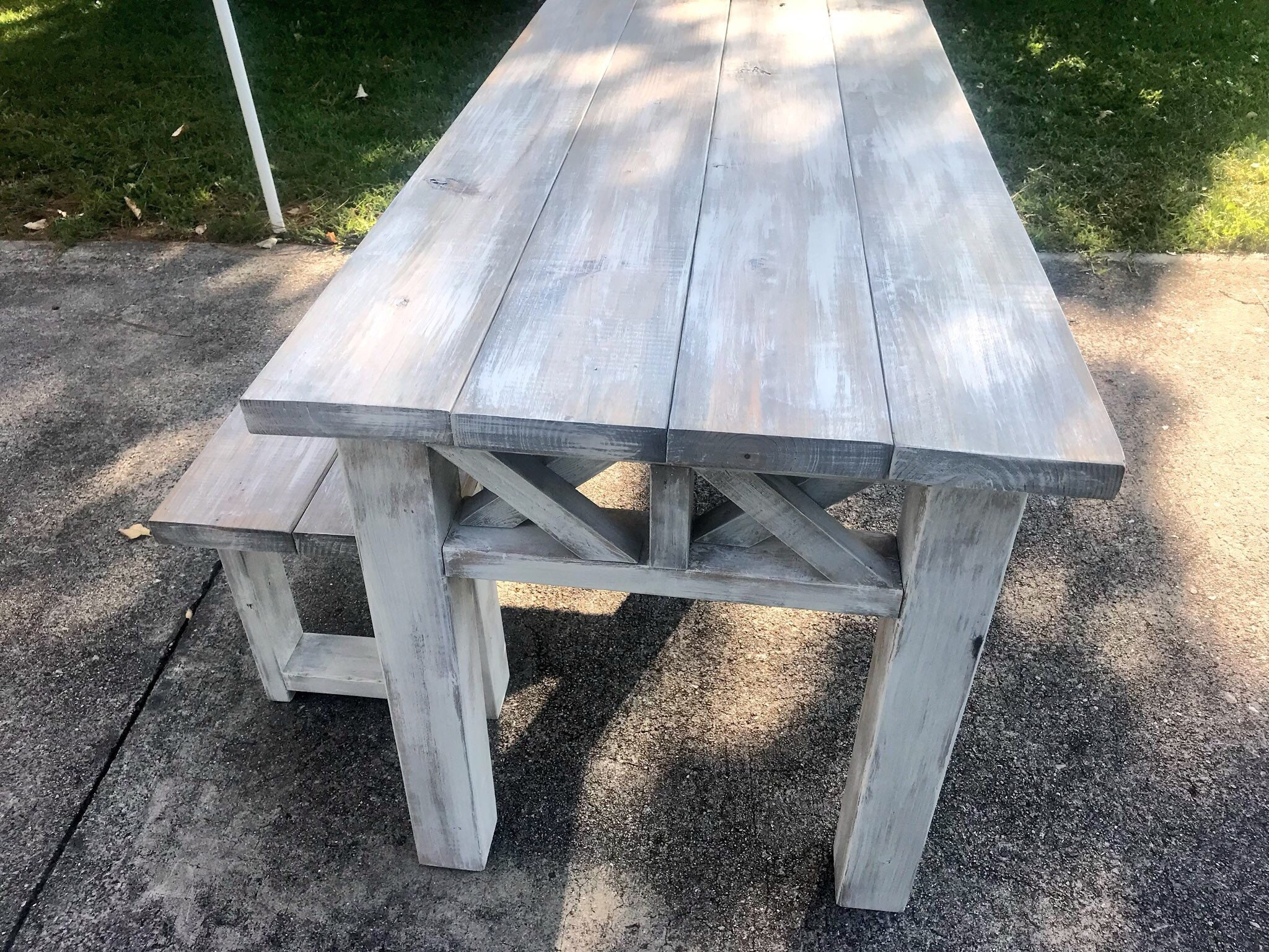 Fabulous Rustic Wooden Farmhouse Table Set With Gray White Wash Top Machost Co Dining Chair Design Ideas Machostcouk