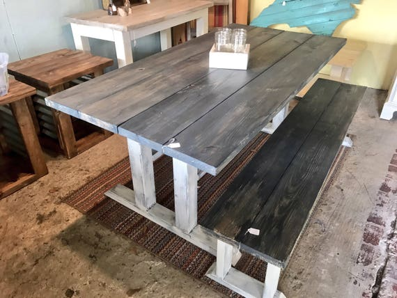 Rustic Farmhouse Table with Long Bench
