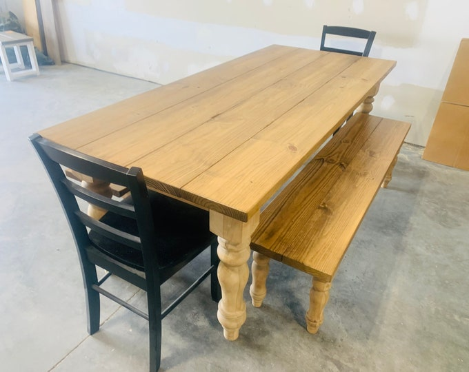 Rustic Farmhouse Table with Chunky Turned Legs, Benches and Black Chairs, Early American Finish, Dining Set with Wooden Ladder Back Chairs