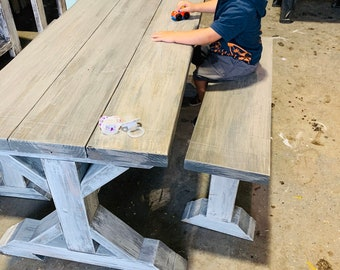Kids Rustic Pedestal Style Farmhouse Table Set with Benches, Children's Table, Dining Set, White Wash Top with White Distressed Base