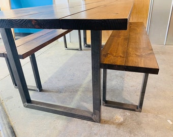 Industrial Farmhouse Table with Benches, Rustic Steel Legs, Provincial Brown Wooden Top, 7ft Dining Set, Industrail Design