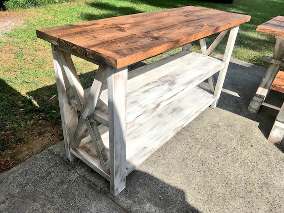 Magnificent Rustic Wooden Buffet Table Rustic Console Table Farmhouse Buffet Table Distressed White Base And Provincial Brown Top Beatyapartments Chair Design Images Beatyapartmentscom