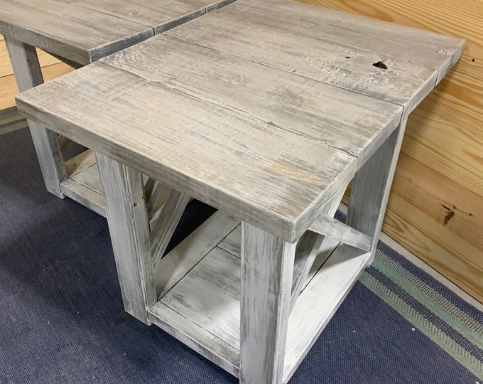 Long Rustic Farmhouse End Tables Gray White Wash Top with a Distressed Base, Side Tables with Shelve, End Table Set, X Accents Cross Brace