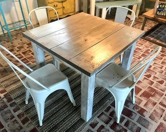 Square Farmhouse Table, Rustic Farmhouse Table, Dining Set with White Metal Chairs, Small Table Set, Gray Top White Distressed Base