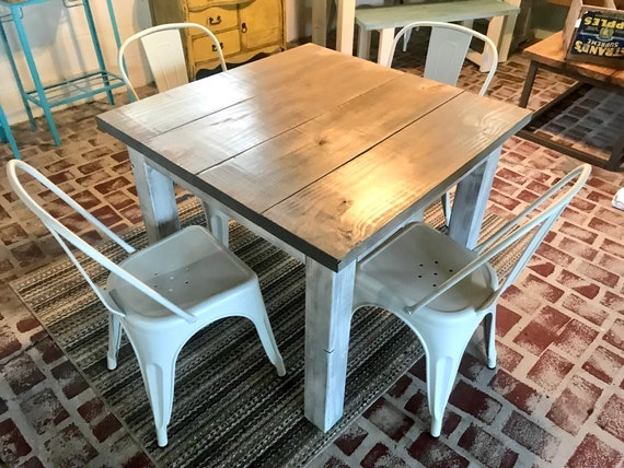 Square Farmhouse Table Rustic Farmhouse Table Dining Set With White Metal Chairs Small Table Set Gray Top White Distressed Base