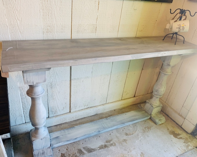 Rustic Farmhouse Entryway Table with shelve and Turned Legs, Gray White Top and Distressed White Base, Wooden Sofa Console Table