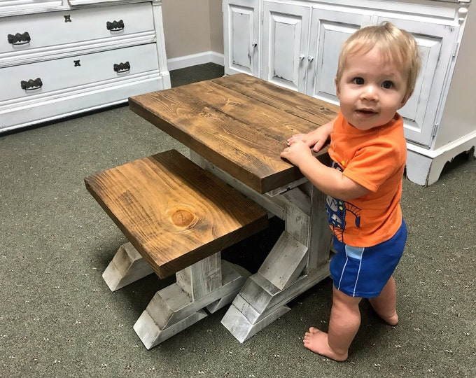 Kids Rustic Pedestal Style Farmhouse Table Set with Benches, Children's Table, Dining Set, Provincial Brown Top with White Distressed Base