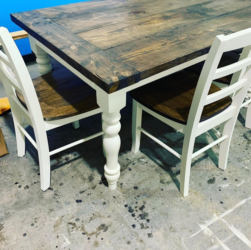 5ft Rustic Farmhouse Table With Turned Legs Bench And Chair Set Dark Walnut Top And Antique White Base Wooden Dining Table
