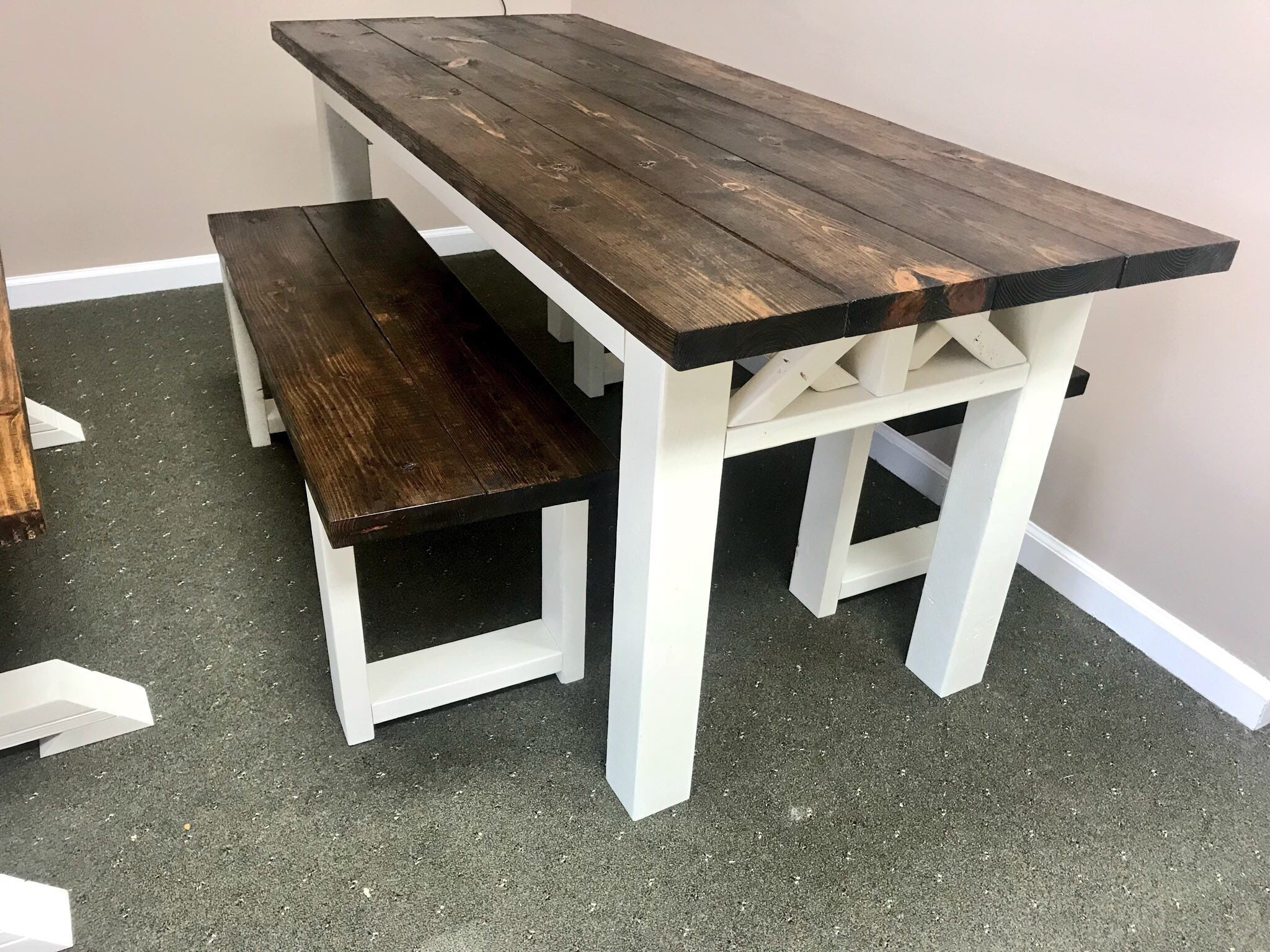 Rustic Wooden Farmhouse Table Set With Espresso Top And Antique - Farmhouse table with white base