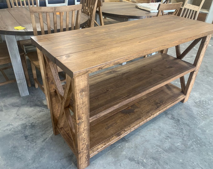 Rustic Wooden Buffet Table, Rustic Console Table, Farmhouse Buffet Table, Brown Walunt Stain, Light Walnut