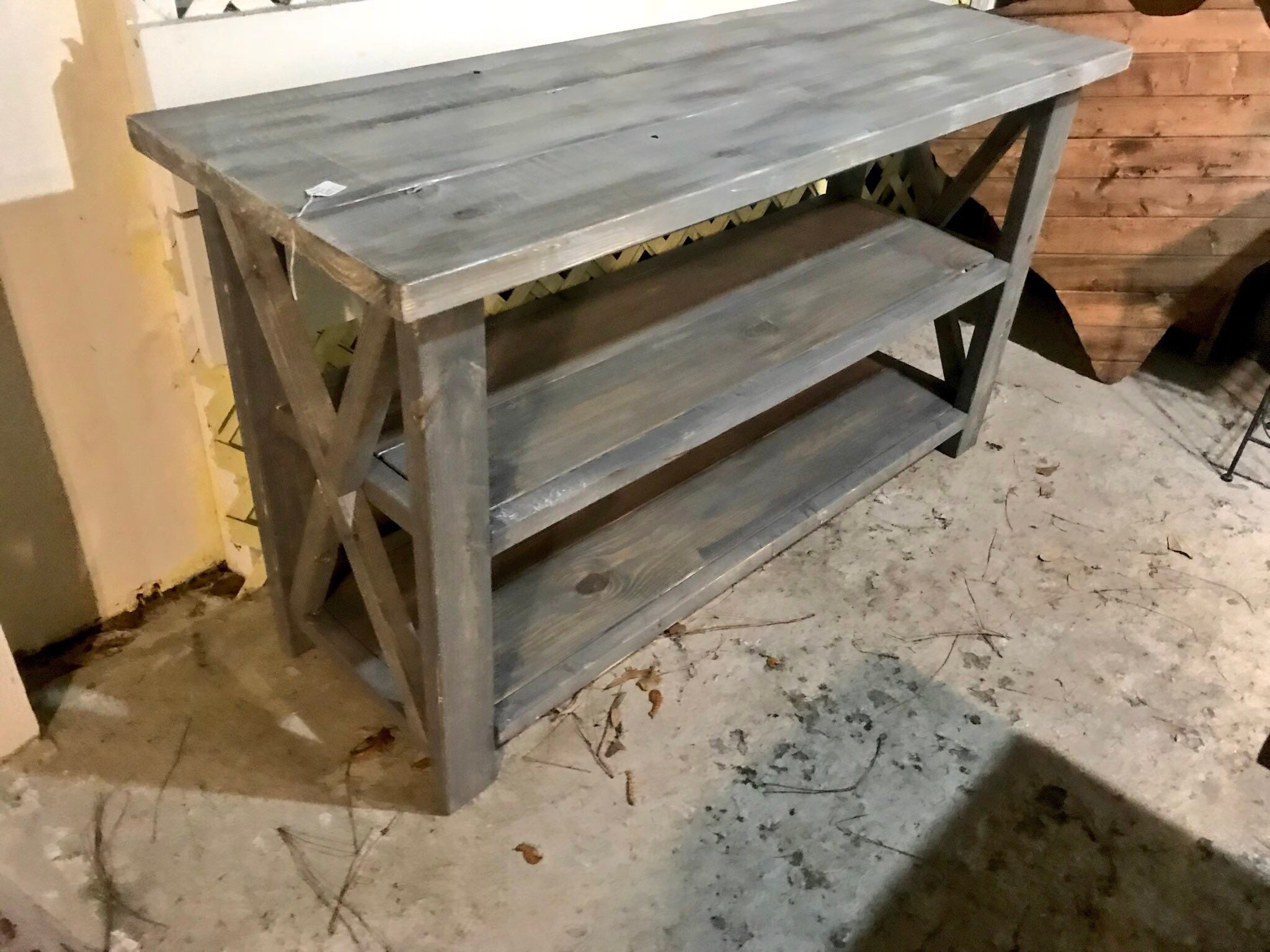 Picture of: Rustic Wooden Buffet Table Rustic Console Table Farmhouse Buffet Table White Wash With Gray Base And White Wash Top