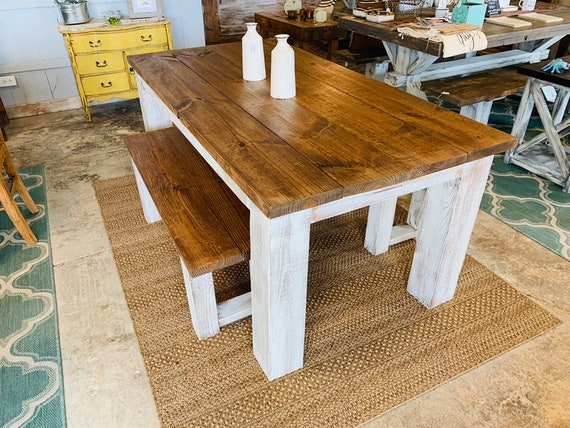 Rustic Farmhouse Table Set With Chunky Legs Distressed White Etsy