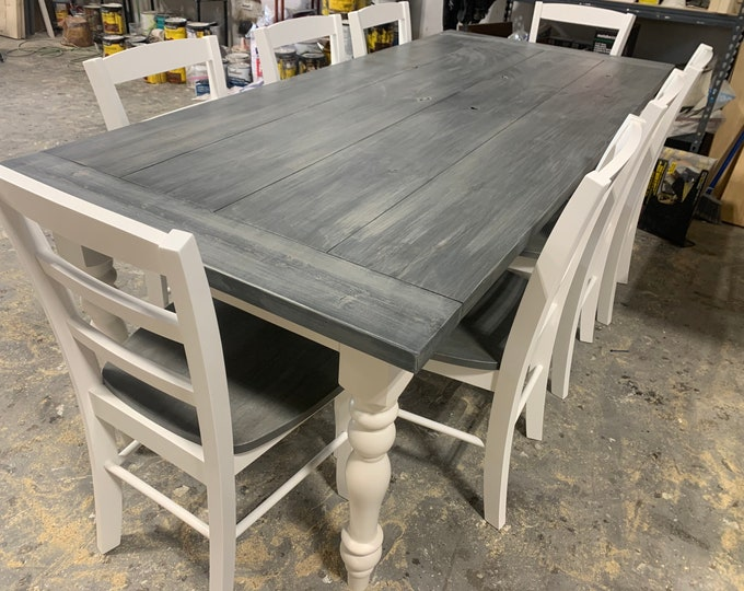 7ft Rustic Farmhouse Table with Turned Legs, Chair Set Carbon Gray White Wash Top and Antique White Base, Wooden Dining Table