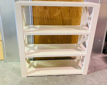 Rustic Farmhouse Style Bookshelf with a Antique Finish and X Accents,  Wooden Shelving Bookcase Storage