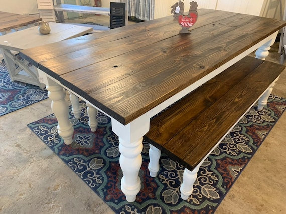 Rustic Farmhouse Table Set with Turned Chunky Legs, Includes two Benches,  Dark Walnut Top and Antique White Base, Dining Set