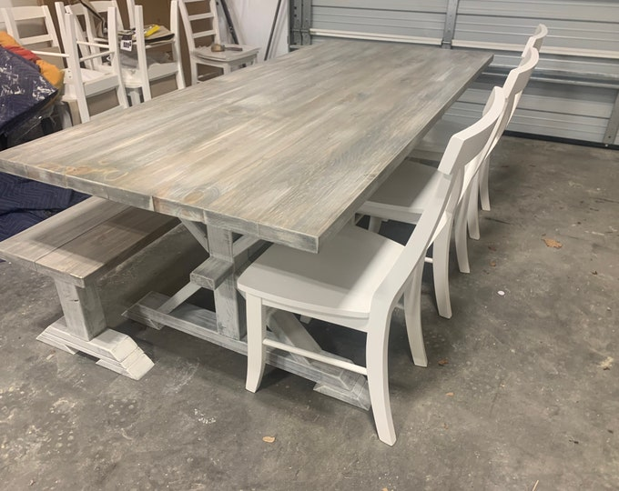7ft Rustic Farmhouse Table Set With Long Bench and Chairs, Gray White Wash Finish, Distressed White Base, Seamless Top, Dining Set