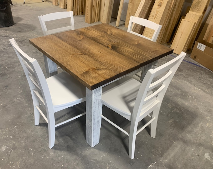 Square Farmhouse Table, Rustic Farmhouse Table, Dining Set, With White Chairs, Table with Short Benches, Provincial Brown White Wash Base