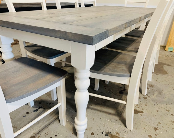 7ft Rustic Farmhouse Table with Turned Legs, Chair Set Classic Gray Top and Antique White Base, Wooden Dining Table