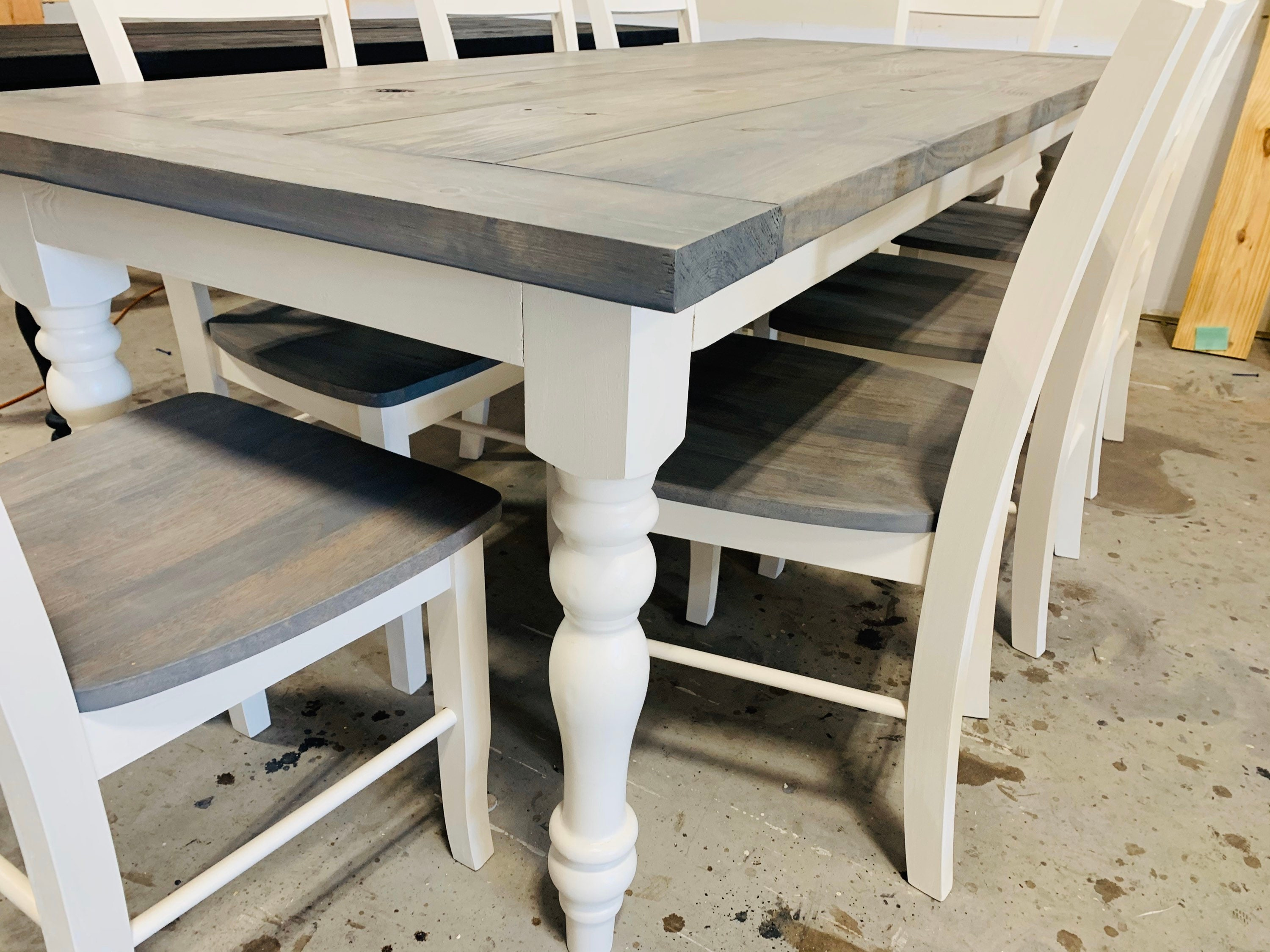 7ft Rustic Farmhouse Table With Turned Legs Chair Set Classic Gray Top And Antique White Base Wooden Dining Table