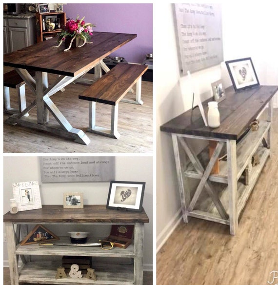 Farmhouse Dining Room Set, Sideboard and Farmhouse Table Set, Walnut Sained  Top with White Distressed Base Buffet and Table with Benches