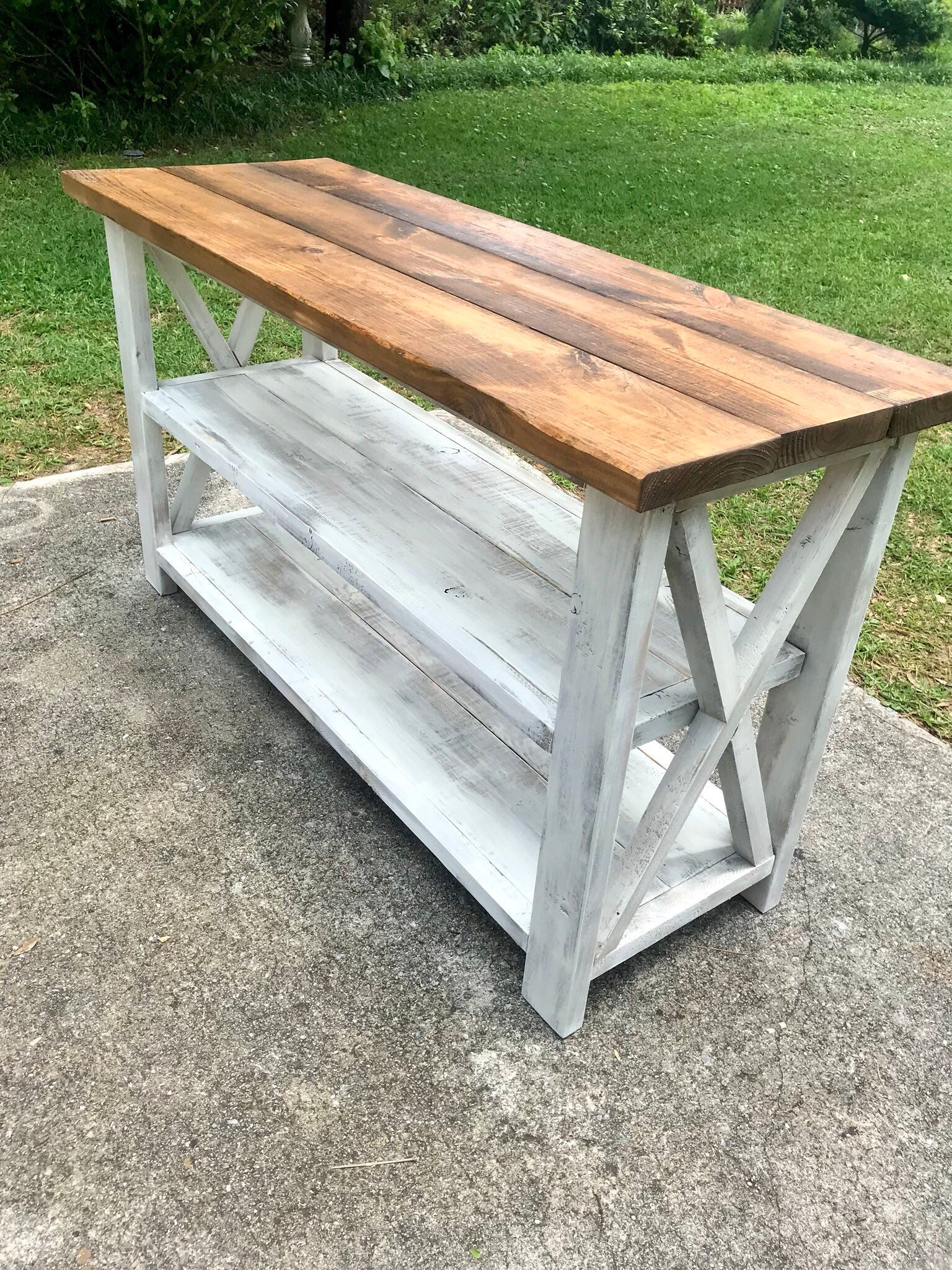 Rustic wooden buffet table rustic console table farmhouse buffet table white wash with gray base and provincial brown top