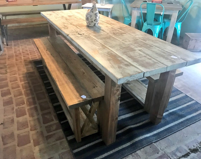 7ft Rustic Weathered Farmhouse Dining Table DiSet with Wooden Benches with Storage Antique White Distressed Top and Walnut Sained Base