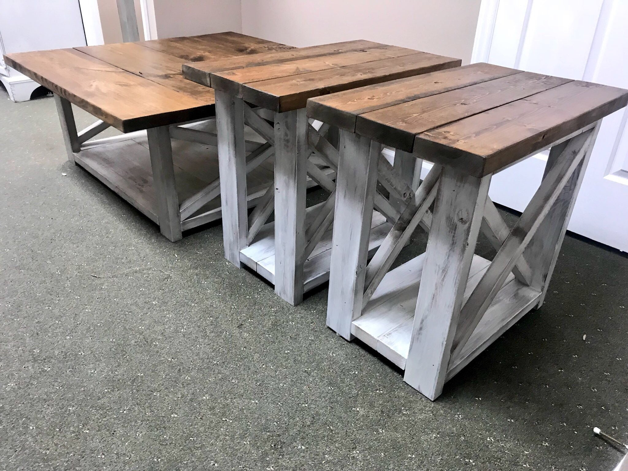 Rustic Living Room Set Large Farmhouse Coffee Table With Set Of
