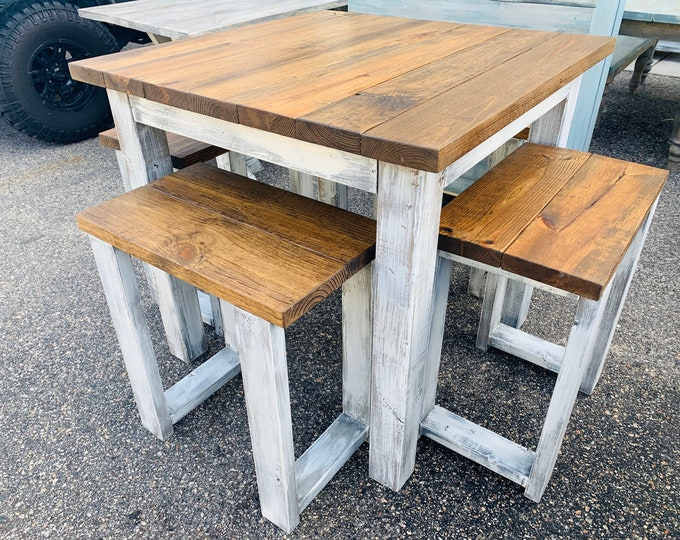 Counter Height Rustic Farmhouse Table with Stools, High Top table with Tall Seating Provincial Top and White Distressed Base, Dining Set