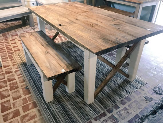Rustic Farmhouse Table With Benches With Dark Walnut Top And Etsy