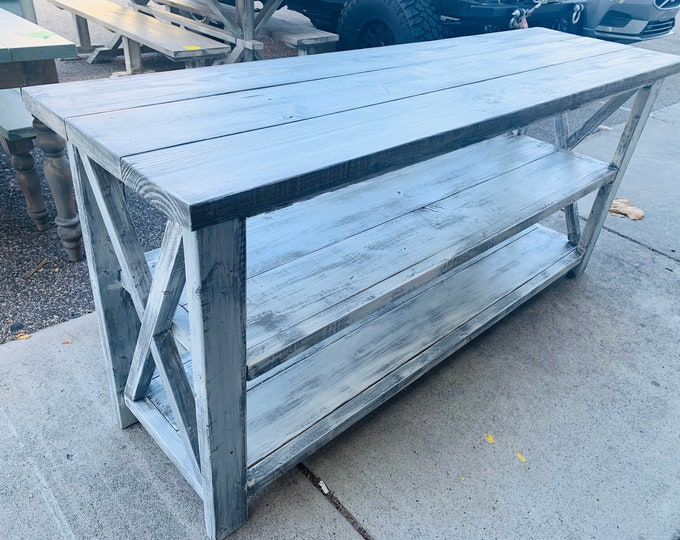 6ft Rustic Wooden Buffet Table, Rustic Console Table, Farmhouse Buffet Table, Distressed White Base and White Wash Top
