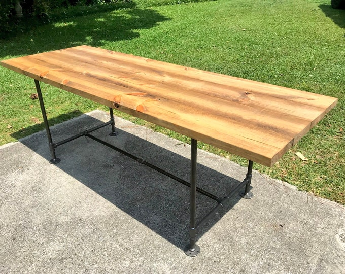 Industrial Style Farmhouse table with Black Iron Pipe Base and Legs Wooden Stained Walnut Top Industrial Rustic Dining Table