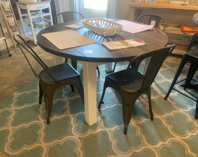 Round Rustic Farmhouse Table with Metal Chairs, Four Leg Base, Dark Walnut Top with Pure White Base, Small Wooden Dining
