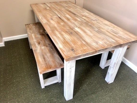 Marvelous White Wash Farmhouse Table With Benches Rustic Wooden Walnut White Wash Top And Creamy White Distressed Base Dining Or Kitcen Table Machost Co Dining Chair Design Ideas Machostcouk